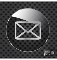 Glass mail button icon on metal background vector image