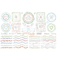 Hand drawn brusheswreath setColored Doodle decor vector image vector image