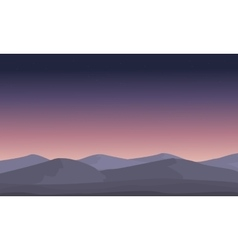 Mountain at night landscape silhouettes vector image