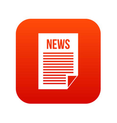 news newspaper icon digital red vector image