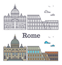 rome buildings - line cathedral and coliseum vector image
