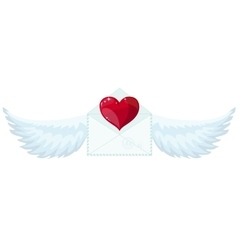Valentine envelope with heart and wings vector image vector image