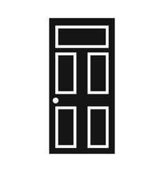 Wooden door with glass icon simple style vector image