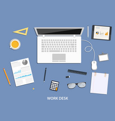 Workspace flat desktop design with business icons vector