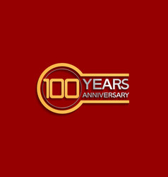 100 years anniversary golden and silver color vector