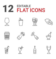 12 wine icons vector image