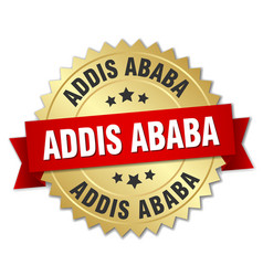 Addis ababa round golden badge with red ribbon vector