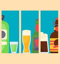 alcohol drinks cards beverages cocktail bottle vector image