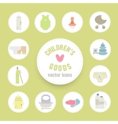 Babys goods icons in flat style vector