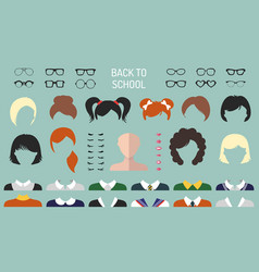back to school faces creator set of dress vector image