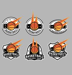 basketball logo and badge set image vector image