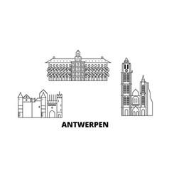 Belgium antwerpen line travel skyline set vector