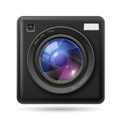 black camera icon lens on white background vector image