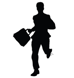 Businessman runs black silhouette figure vector image