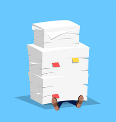 businessman under the stack of paper vector image