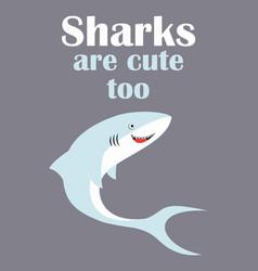 Card cute shark isolated on grey animal marine vector