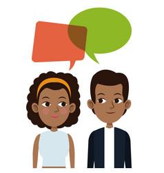 Cartoon guy and girl bubble speech talking vector