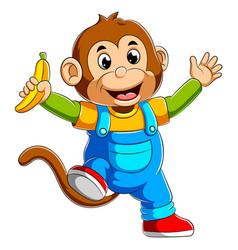 Cartoon monkey holding banana vector