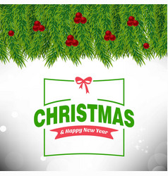 christmas card with leafs and cherries frame and vector image