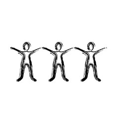 contour people with hands up icon vector image