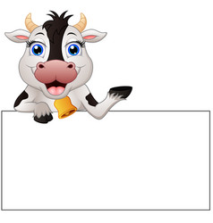 Cow cartoon with blank sign vector