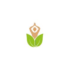 creative leaf spa person body logo vector image