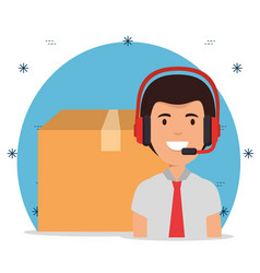 Delivery service with call center agent vector