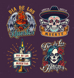 dia de los muertos colorful labels vector image