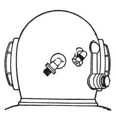 Diving helmet back vintage vector