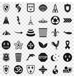 Emblem icons set simple style vector
