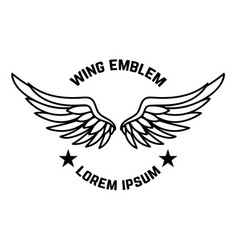 Emblem template with wings design element vector