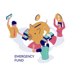 Emergency fund concept for web banner vector