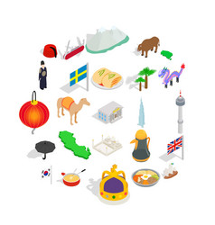 europe icons set isometric style vector image