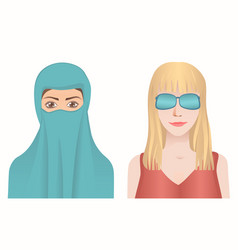 female avatars set vector image