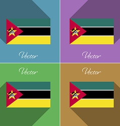 Flags Mozambique Set of colors flat design and vector image