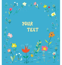 Floral card with frame - simple design vector