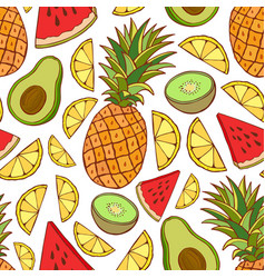 fruits seamless pattern bright summer texture for vector image