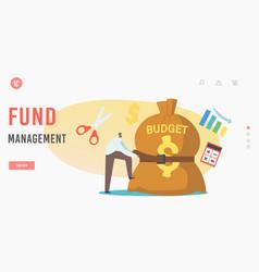 Fund management landing page template businessman vector