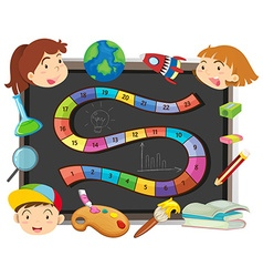 Game template with children and school objects vector