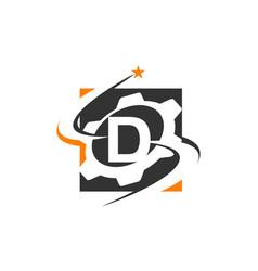 Gear solution logo letter d vector
