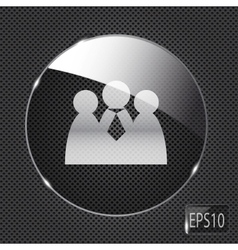 Glass social network button icon on metal vector image