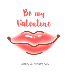 greeting card happy valentine s day women s lips vector image