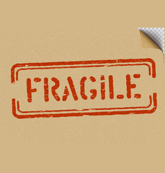 Grunge fragile on cardboard background for vector