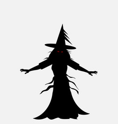 Halloween evil witch silhouette vector