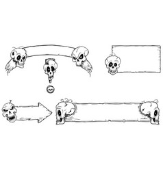 hand drawing set halloween frames with skulls vector image