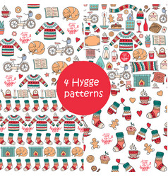 Hand drawn seamless patterns with hygge elements vector