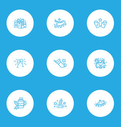 happy icons line style set with hot tea stemware vector image