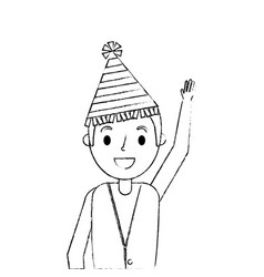 Happy man wearing party hat with arms up vector