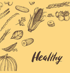 healthy vegan food hand drawn background vector image