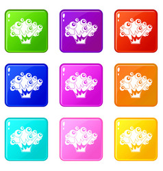 High power explosion icons 9 set vector